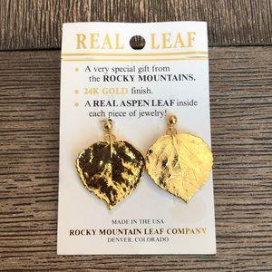 24k Gold Plated Real Aspen Leaf Earring